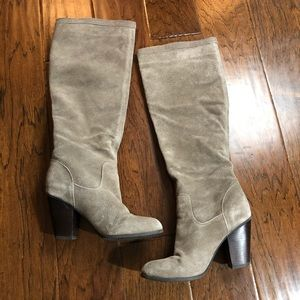 Michael Shannon leather knee high heeled boots